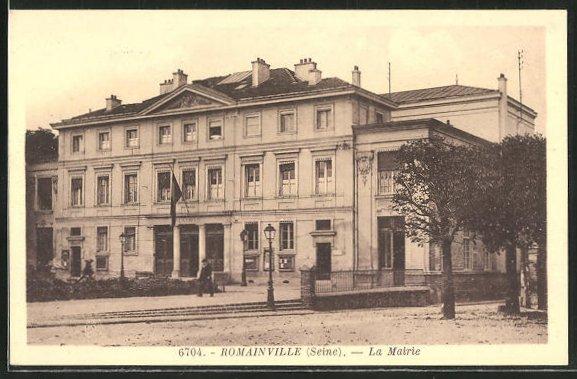 AK Romainville, La Mairie, Blick auf das Rathaus