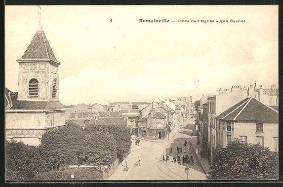 AK Romainville, Place de l'Eglise, Rue Carnot 0