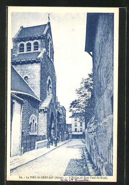 AK Le Pré-St-Gervais, L'Eglise et Rue Paul-de-Kock