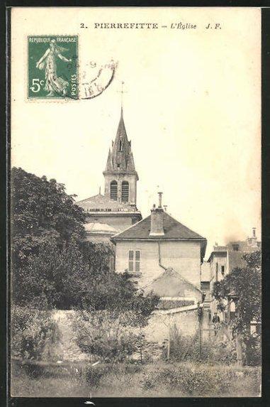 AK Pierrefitte, L'Église, Teilansicht mit Kirche 0