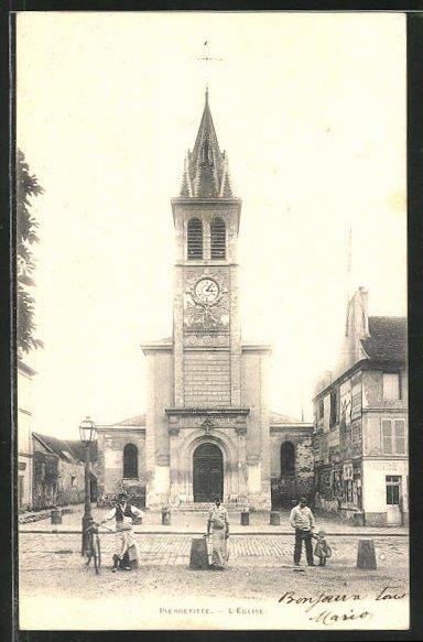 AK Pierrefitte, L'Église, Einwohner vor der Kirche