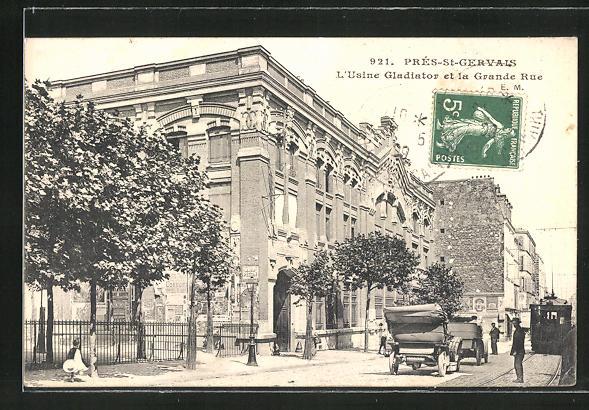 AK Pré-Saint-Gervais, L'Usine Gladiator et la Grande Rue