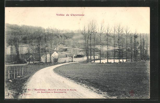 AK Senlisse, Moulin d'aulne et Route de Senlisse a Dampierre