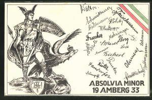 AK Amberg, Absolvia Minor 1933, Germanenkult, Germanenkrieger und Reichsadler