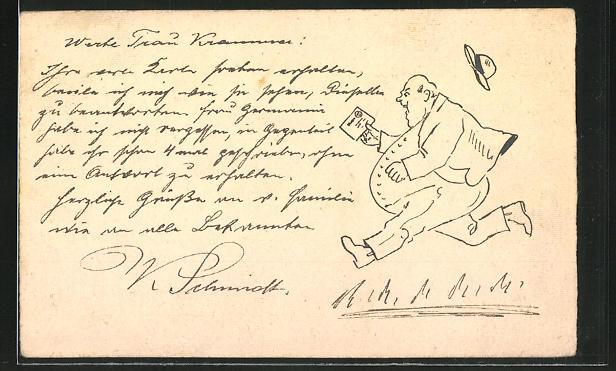 Künstler-AK Handgemalt: Dicker Mann beeilt sich um einen Brief bei der Post aufzugeben