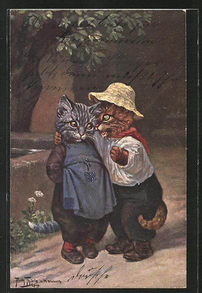 Künstler-AK Arthur Thiele: Kater vertraut einer Katze ein Geheimnis an