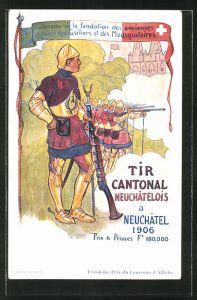 Künstler-AK Neuchatel, Tir Cantonal Neuchatelois 1906, Musketiere