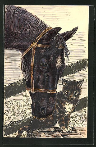 Künstler-AK Handgemalt: Tierfreundschaft zwischen Pferd und Katze