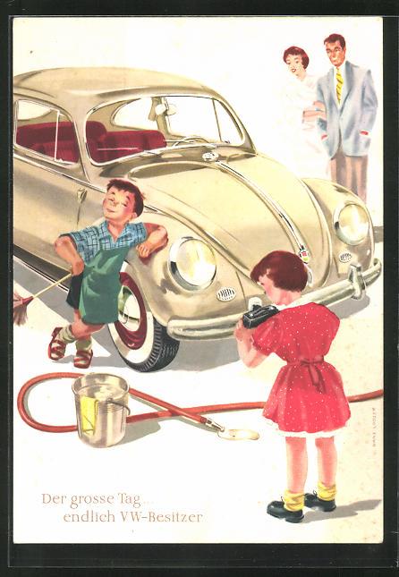 AK Reklame für VW Autos, Kleiner stolzer Saubermann vor einem VW-Käfer