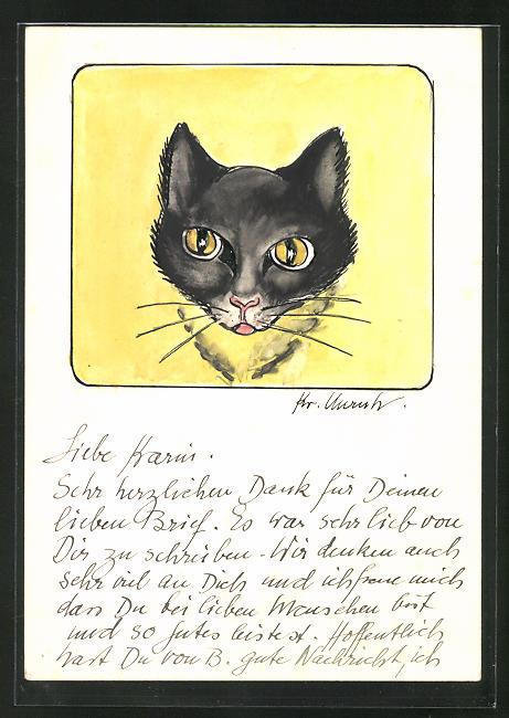 Künstler-AK Handgemalt: Schwarze Katze mit gelben Augen