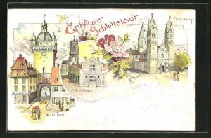 AK Schlettstadt, Fides-Kirche, Neuer Turm, Stadtbibliothek