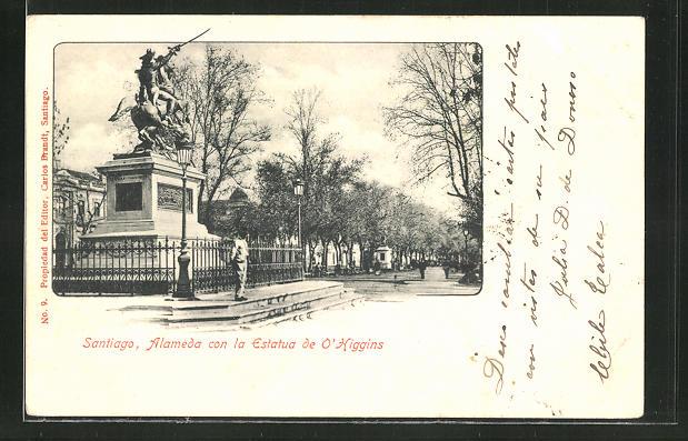 AK Santiago, Alameda con la Estatua de O'Higgins