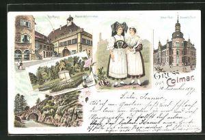 Lithographie Colmar, Kaufhaus, Monument Hirn, Neue Post