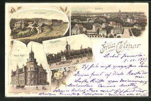 Lithographie Colmar, Drei Ähren, Rappplatz, Neue Post