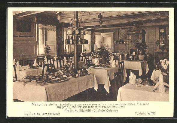 AK Strasbourg, Restaurant Zimmer, 8, Rue du Temple-Neuf, Innenansicht