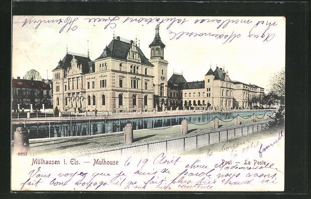 AK Mülhausen i. Els, Post-La Poste