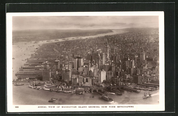 AK New York, NY, Manhattan Island showing Skyscrapers, Wolkenkratzerpanorama