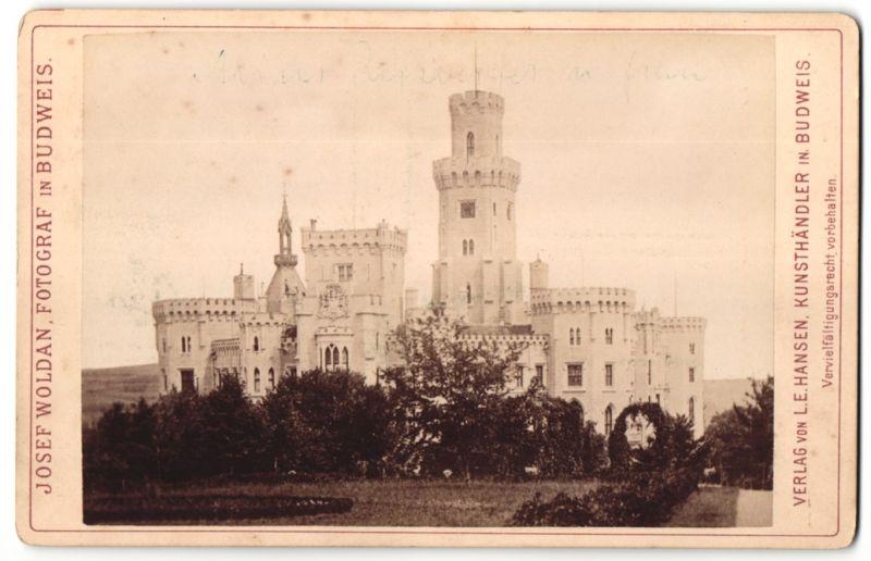 Fotografie Josef Woldan, Budweis, Ansicht Frauenberg, Schloss Frauenberg