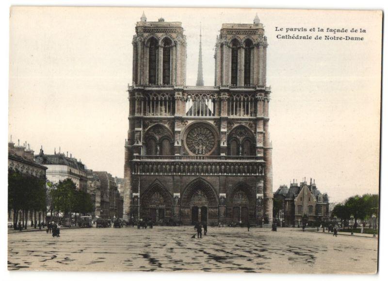 Fotografie unbekannter Fotograf, Ansicht Paris, Le parvis et la facade de la Cathédrale de Notre-Dame