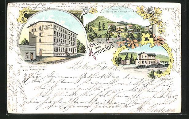 Lithographie Hermsdorf, Gustav Emler's Gasthof zum Hohenzollern, Bahnhof