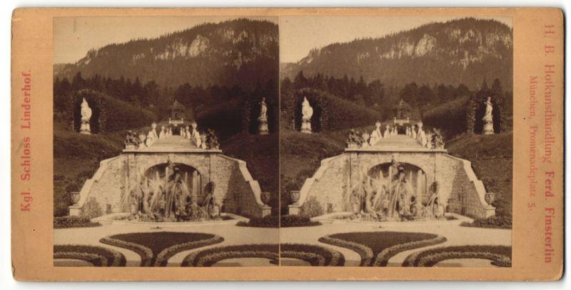 Stereo-Fotografie Ferd. Finsterlin, München, Ansicht Ettal, Kgl. Schloss Linderhof, Neptun Brunnen