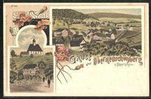 Lithographie Oberneuschönberg, Strassenpartie mit Blick zur Kirche, Teilansicht vom Ort