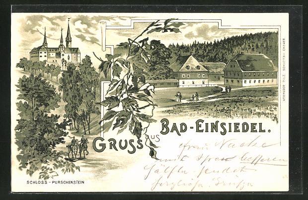 Lithographie Bad-Einsiedel, Blick zum Schloss Purschenstein, Ansicht eines Gehöftes