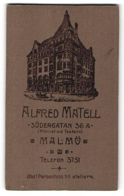 Fotografie Alfred Mantel, Malmö, Ansicht Malmö, Geschäftshaus Södergatan 36a