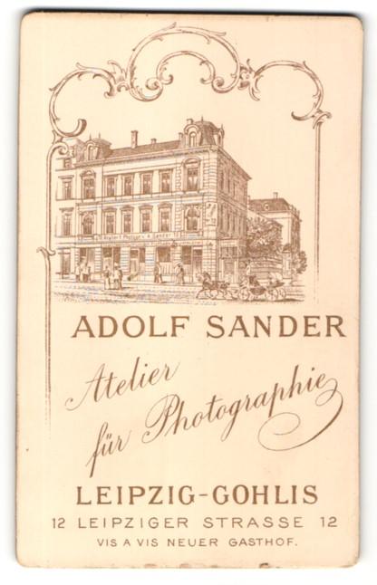 Fotografie Adolf Sander, Leipzig-Gohlis, Ansicht Leipzig-Gohlis, Geschäftshaus in der Leipziger Str. 12