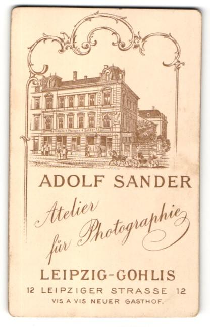 Fotografie Adolf Sander, Leipzig-Gohlis, Ansicht Leipzig-Gohlis, Geschäftshaus & Atelier in der Leipziger Str. 12