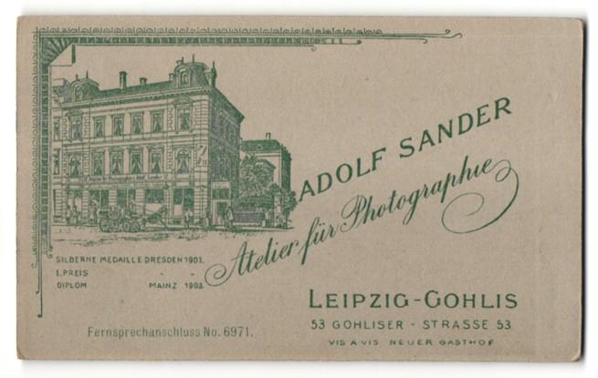 Fotografie Adolf Sander, Leipzig-Gohlis, Ansicht Leipzig-Gohlis, Kutsche vor dem Atelier Gohliser Str. 53