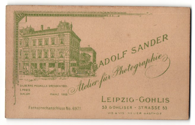 Fotografie Adolf Sander, Leipzig-Gohlis, Ansicht Leipzig-Gohlis, Kutsche am Atelier Gohliser Str. 53