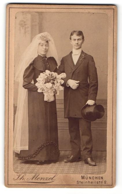 Fotografie Th. Menzel, München, Portrait Braut und Bräutigam, Hochzeit