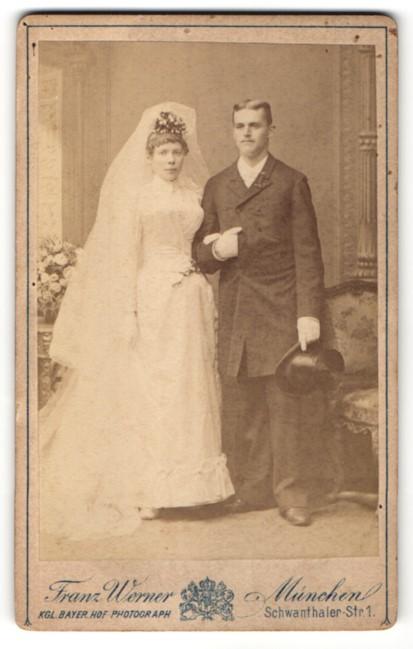Fotografie Franz Werner, München, Portrait Braut und Bräutigam, Hochzeit