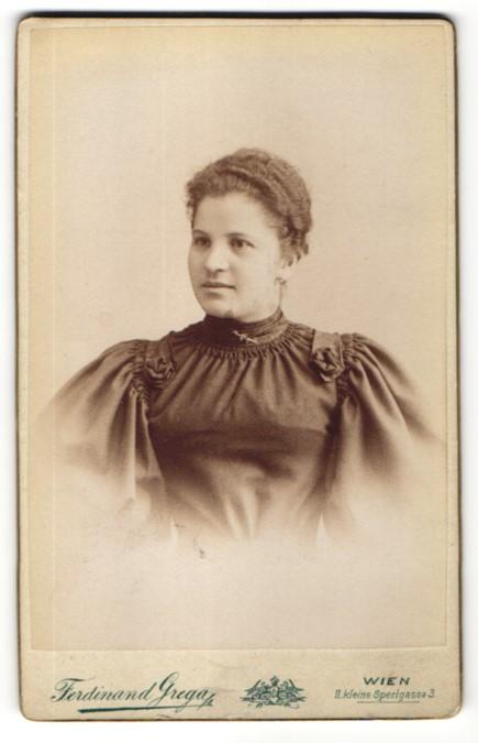 Fotografie Ferdinand Grega, Wien, Portrait charmant lächelndes Fräulein mit Brosche in prachtvoller Bluse