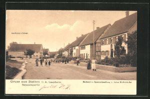 AK Stetten, Strassenpartie mit Gasthaus zum Löwen und Handlung von A. Endlichhofer