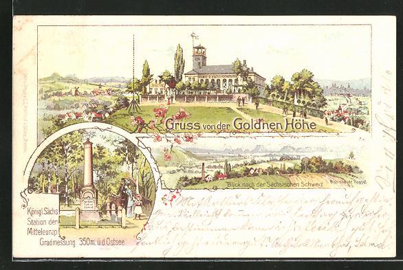 Lithographie Freital, Gasthaus zur Gold'nen Höhe, Kgl. Sächs. Station der Mitteleurop. Gradmessung