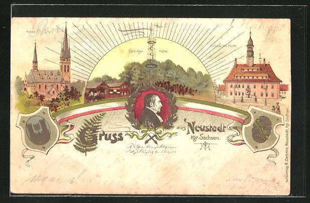 Lithographie Neustadt, Rathaus mit Markt, Kirche, Götzinger Höhe