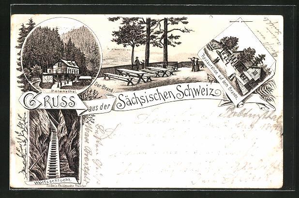 Vorläufer-Lithographie Hohnstein, 1891, Restaurant auf dem Brande, Partie im Polenzthal