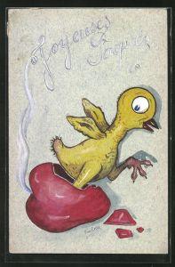Künstler-AK Handgemalt: Joyeuses Paques, Küken schlüpft aus einem rauchenden Herz