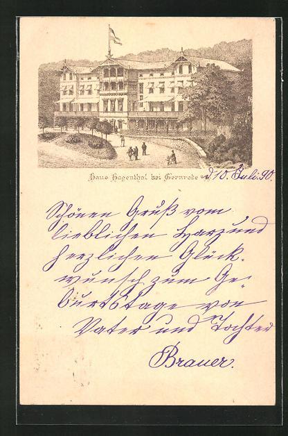 Vorläufer-Lithographie Gernrode, 1890, Ansicht vom Hotel Haus Hagenthal