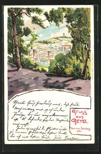 Lithographie Gera, Blick vom Hainberg auf die Stadt