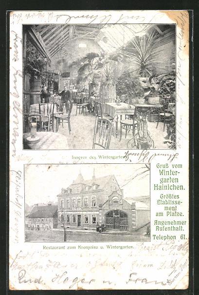 AK Hainichen, Restaurant zum Kronprinz mit Wintergarten