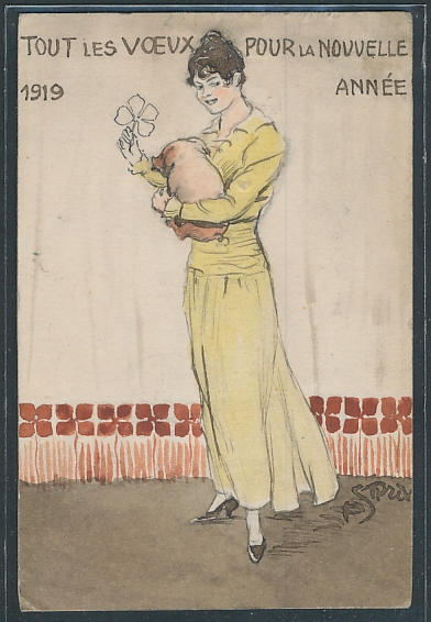 Künstler-AK Handgemalt: Neujahrsgruss 1919, Junge Frau mit Glücksschwein im Arm
