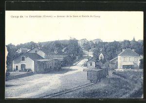 AK Camp de la Courtine, Avenue de la Gare et Entree du Camp