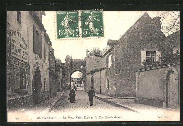 AK Bonneval, La Porte Saint-Roch et la Rue Saint-Michel
