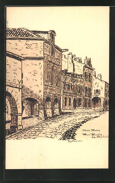 AK La Rochelle, Rue Pernelle, Strassenpartie