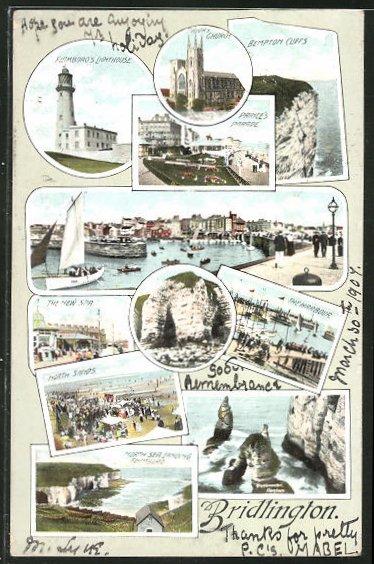 AK Bridlington, Lighthouse, Leuchtturm und weitere Sehenswürdigkeiten