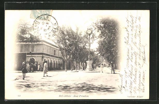 AK Bel-Abbès, Rue Prudon, Strassenpartie