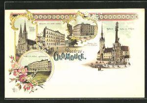 Lithographie Olmütz, Kathedrale, Strassenpartien mit Gebäudeansicht, Gymnasium